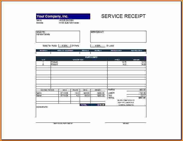 9+ service receipt template | Invoice Template Download