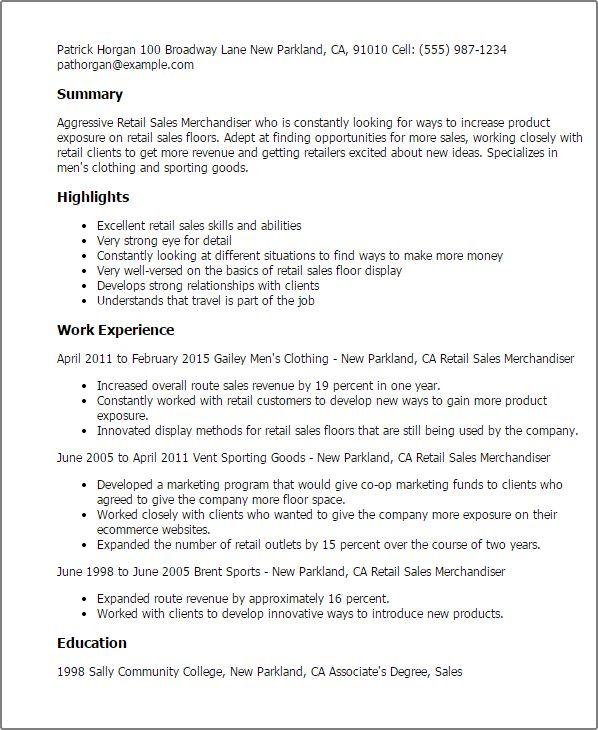 Unusual Ideas Design Merchandiser Resume 7 Professional Retail ...