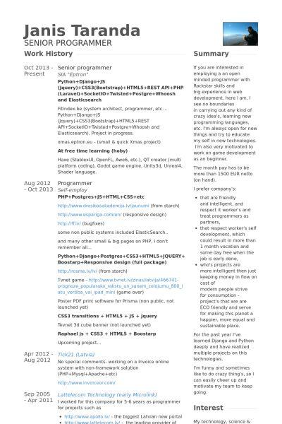 Senior Programmer Resume samples - VisualCV resume samples database