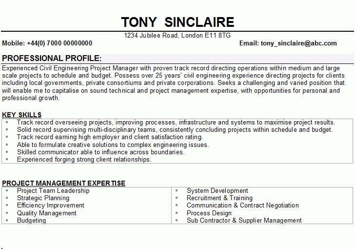 Civil Engineering CV Sample