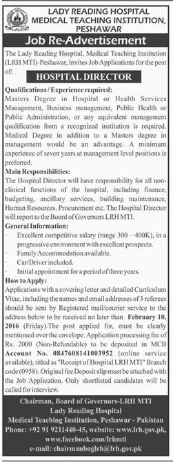 Jobs In Lady Reading Hospital Peshawar 01 July 2017
