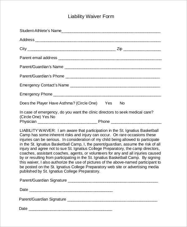 sample liability waivers