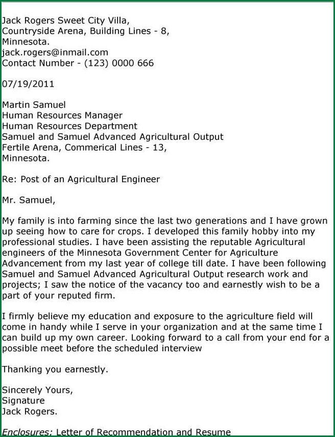 Agriculture Engineer Cover Letter