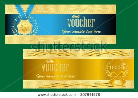 Gold Ticket Voucher Gift Certificate Coupon Stock Vector 307841678 ...