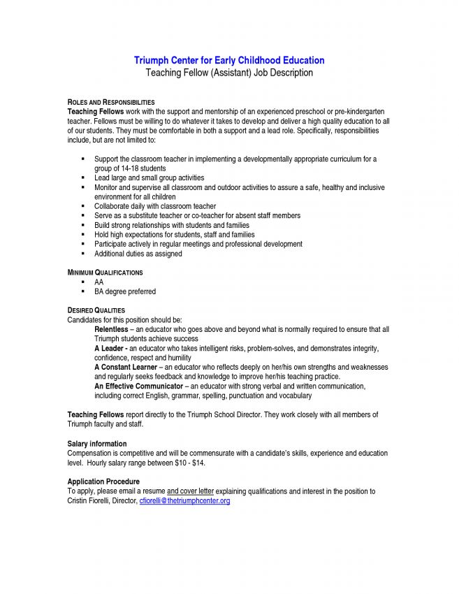 kindergarten teacher description kindergarten teacher resume