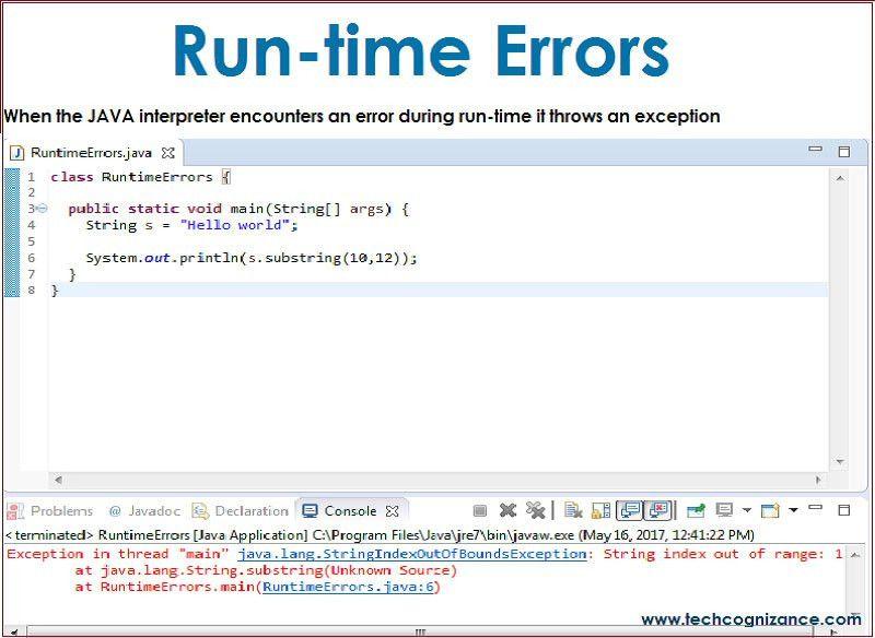 Run-time Errors in java