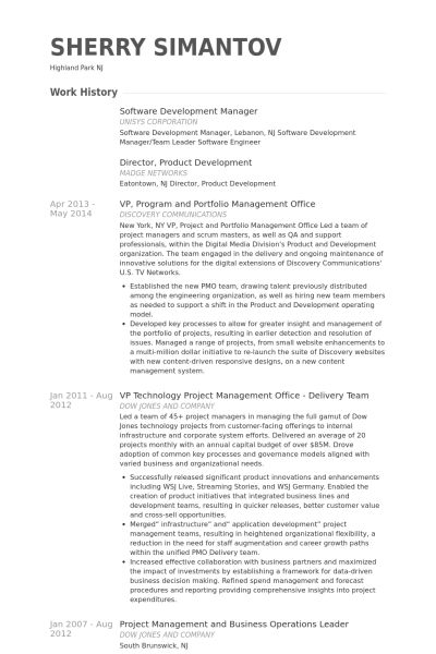Software Development Manager Resume samples - VisualCV resume ...