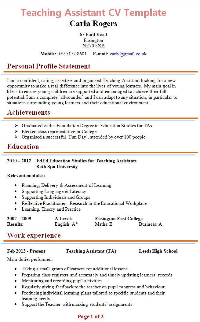 Special Education Classroom Assistant Resume. teacher resume ...