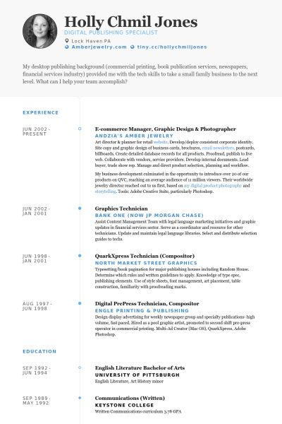Photographer Resume samples - VisualCV resume samples database