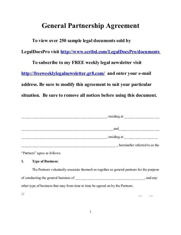 Legal Partnership Agreement Template. partnership agreement ...