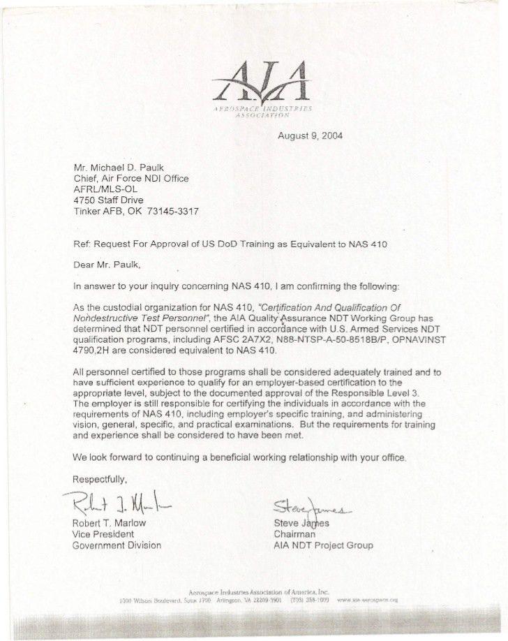 U.S. Department of Defense NDI Equivalency Letter, U.S. Navy Certifi…