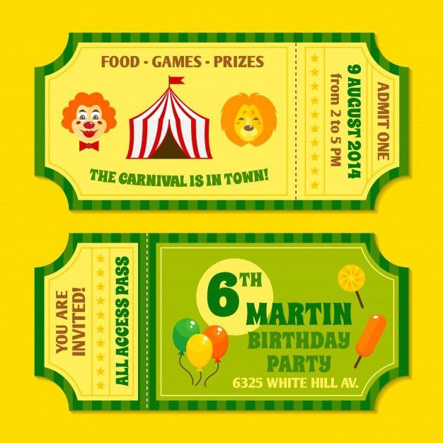 Two vintage circus carnival birthday party invitation tickets ...