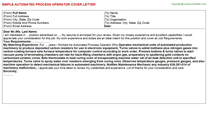 Automated Process Operator Cover Letter