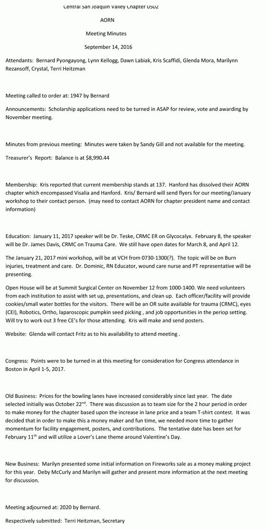Board Meeting Minutes - AORN Chapter 0502 - Central San Joaquin Valley