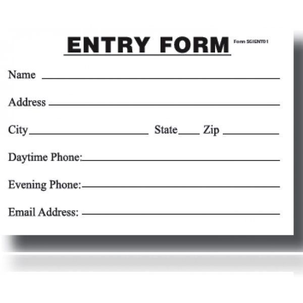 Entry Blank-Entry Form Pad - My Store
