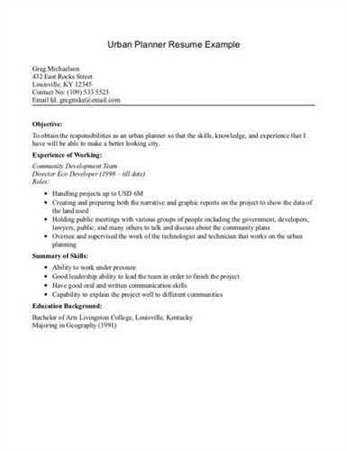 Important Elements to be Included in Urban Planner Resume