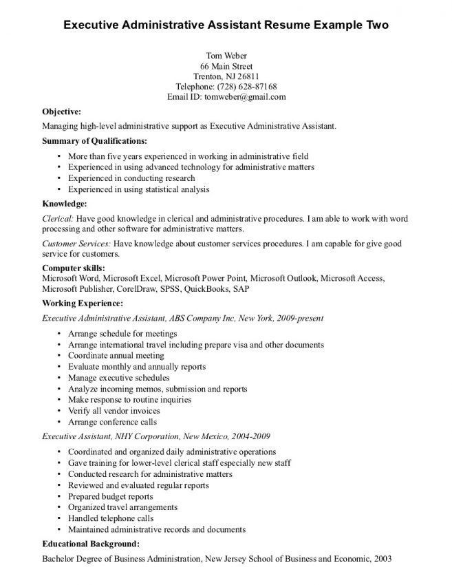 Executive Assistant Resume Summary [Template.billybullock.us ]