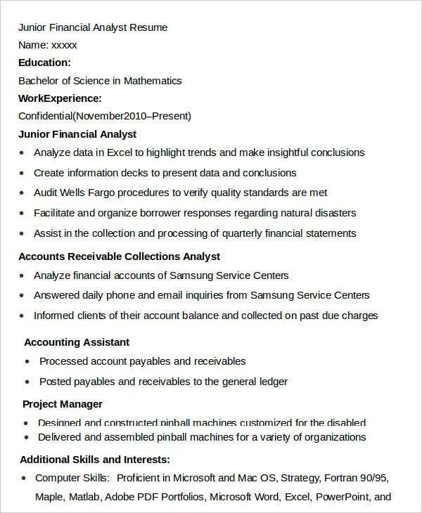 junior financial analyst resume financial analyst resume 10 pdf
