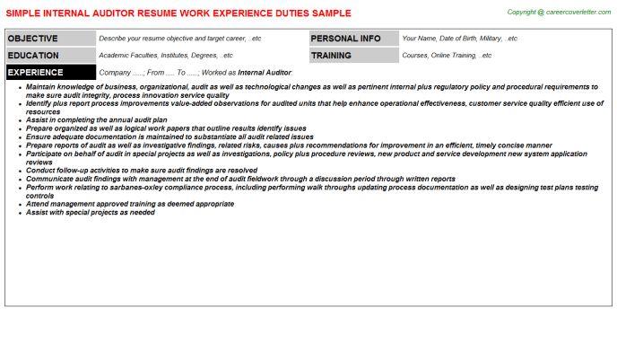 Internal Auditor Resume Sample