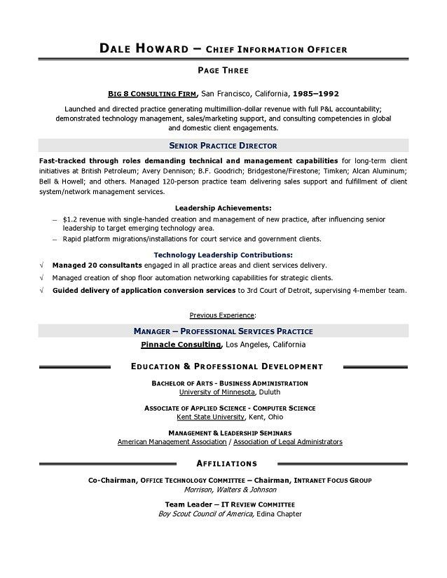 CIO Sample Resume, Chief Information Officer Resume, IT resume ...