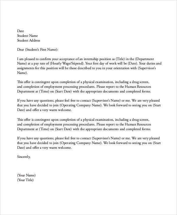 Sample Internship Acceptance Letter - 6+ Documents in PDF, Word