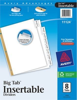 """Avery® Big Tab Insertable Dividers, 8 Tab, Clear, 8 1/2"""" x 11 ..."""