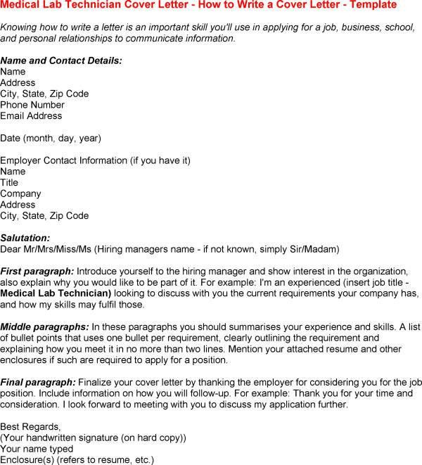 Sample Cover Letter For Medical Laboratory Scientist - Cover ...