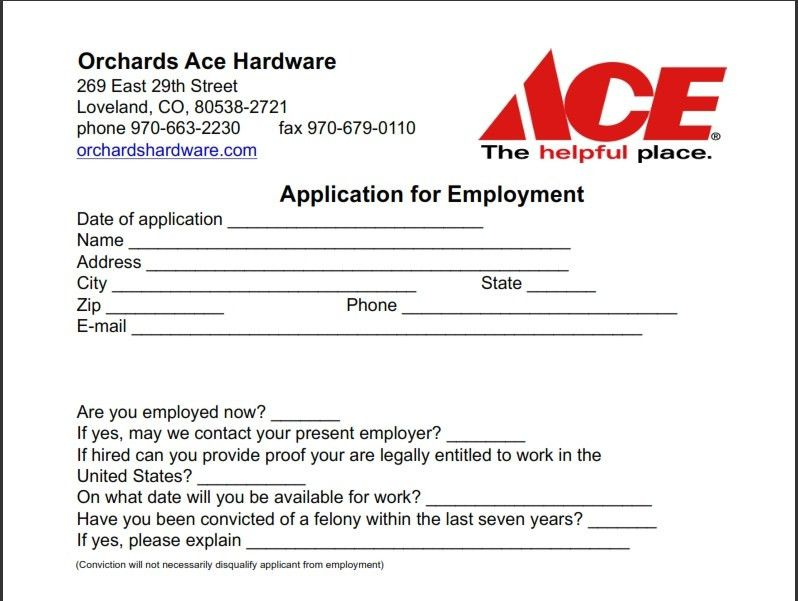 Job Application For Ace Hardware | Professional resumes sample online