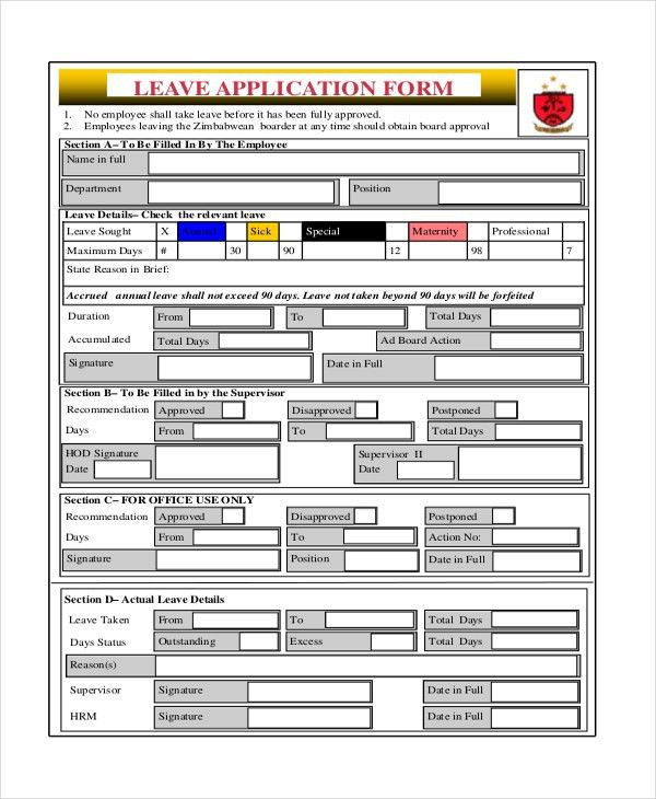 Leave Application Form For Office [Nfgaccountability.com ]