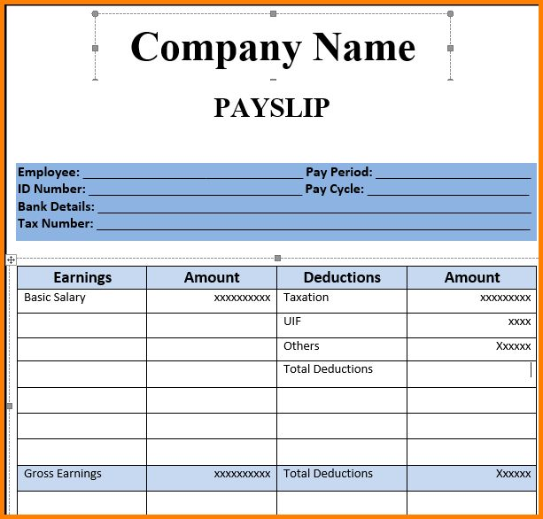 payslip template printable