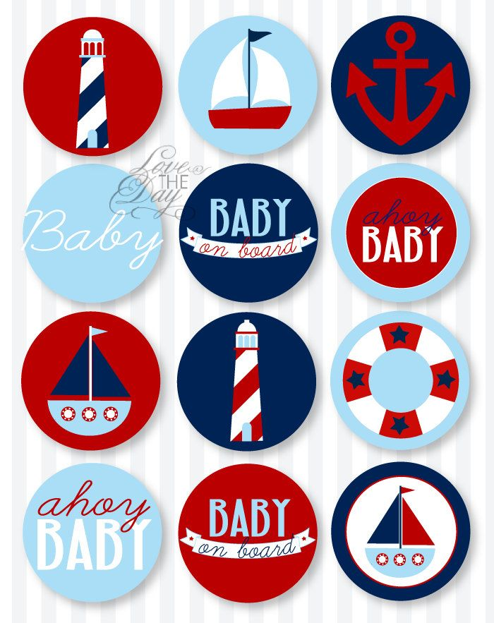 Blue and red nautical baby shower printable party circles from love