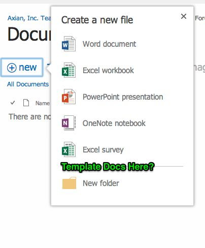 office 365 - SharePoint Online Document Library: Create new ...