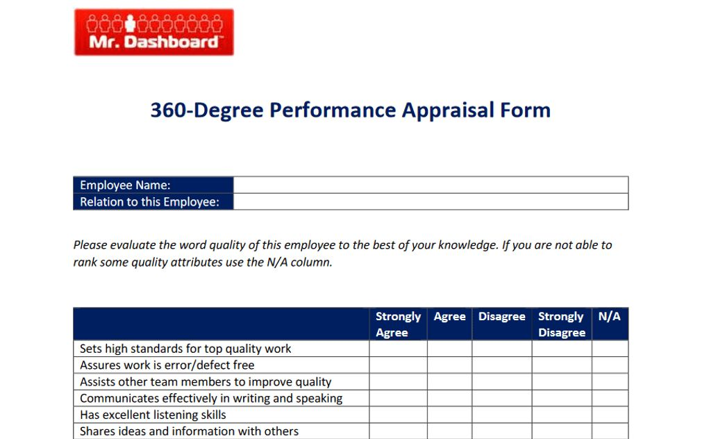 360 Degree Performance Appraisal Forms and Examples | Mr Dashboard