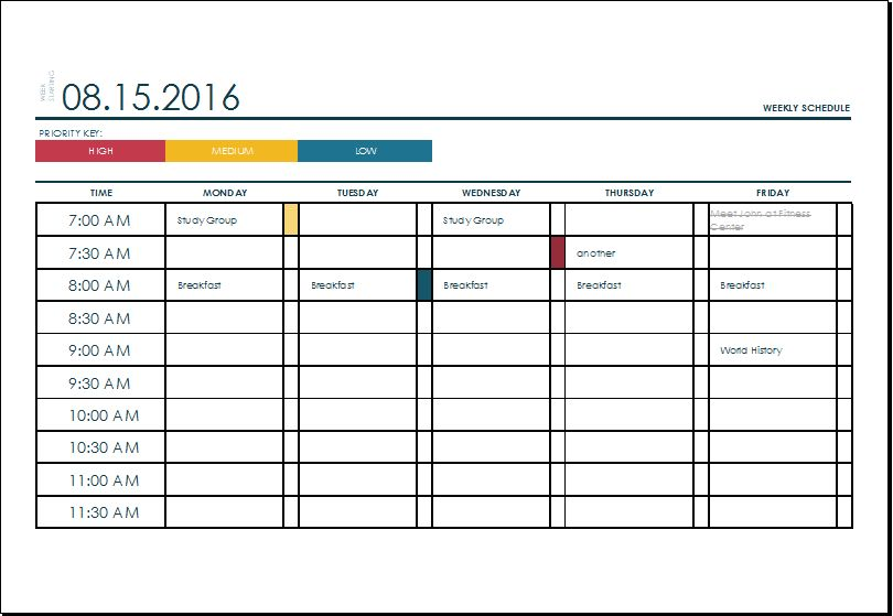 MS Excel Weekly College Tasks Schedule Template | Excel Templates