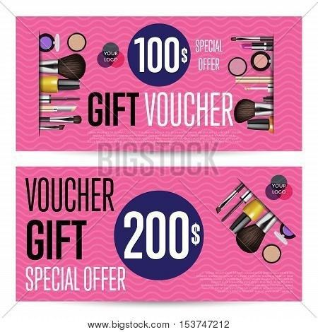 Special offer coupon or gift voucher. Cosmetic voucher layout ...