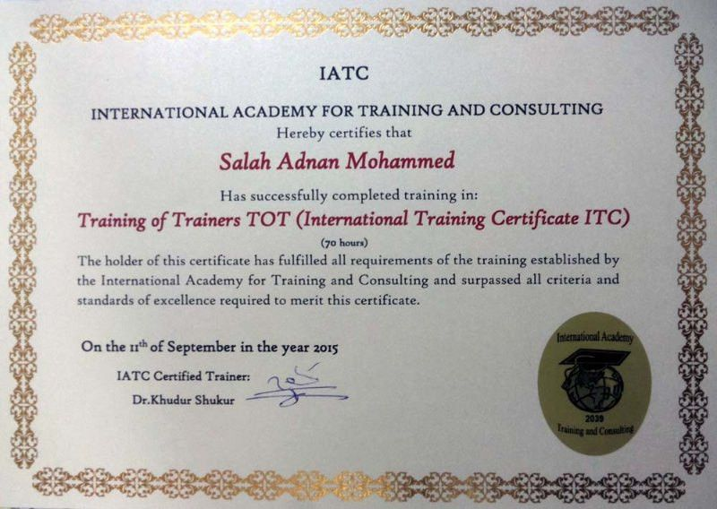 International Training Certificate (TOT) | Salah Mohammed | Pulse ...