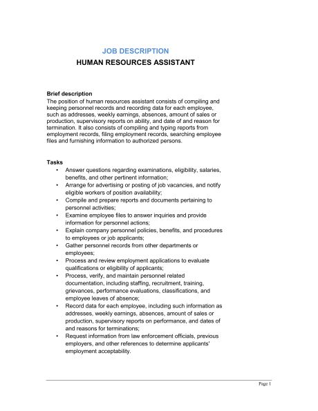 Marketing Assistant Job Description - Template & Sample Form ...