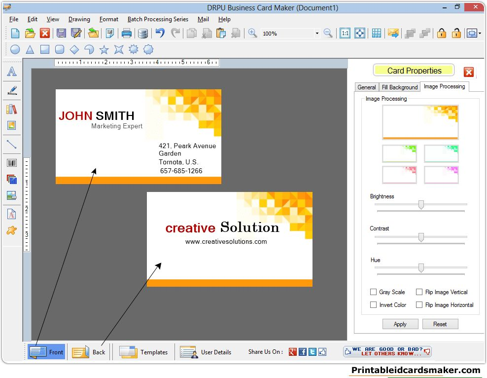 Business Cards Maker Software designs printable visiting cards ...