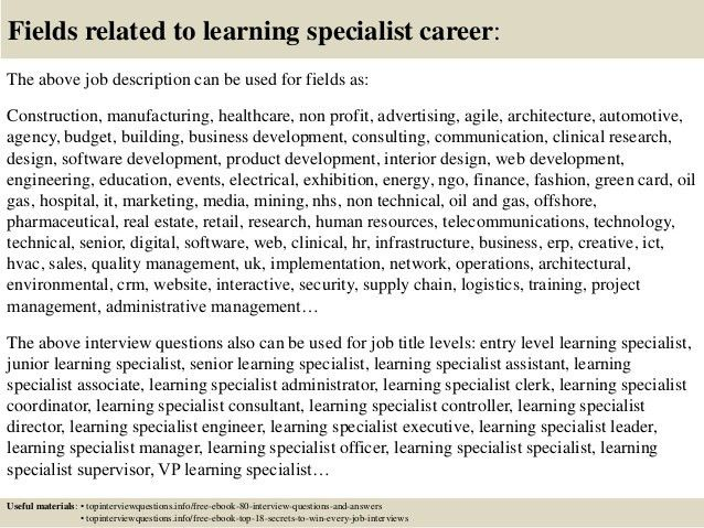 my job title is instructional specialist and my job description in ...
