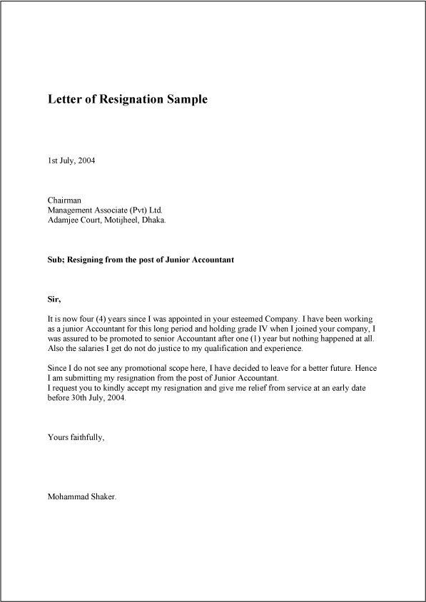 resignation letter format reason for formal resignation letter ...
