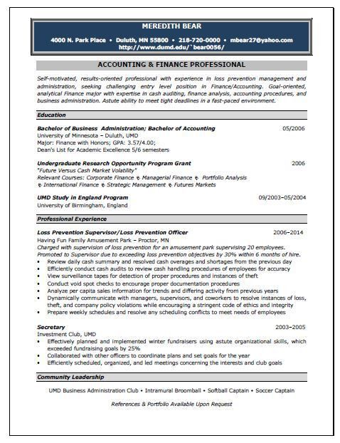 Accounting Position Resume Sample | Resume Writing Service