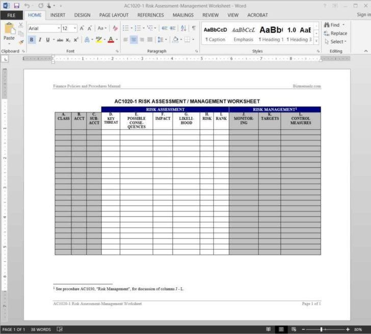 Project Assessment Template. Risk Management Spreadsheet Template .