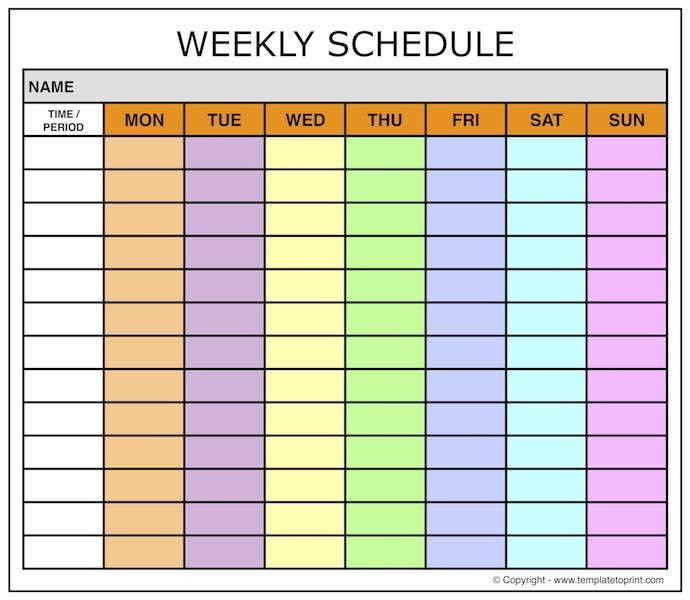 weekly calendars with times