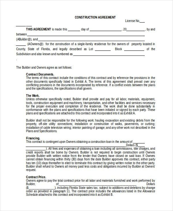 Construction Agreement Forms. Construction Proposal Template 372 ...