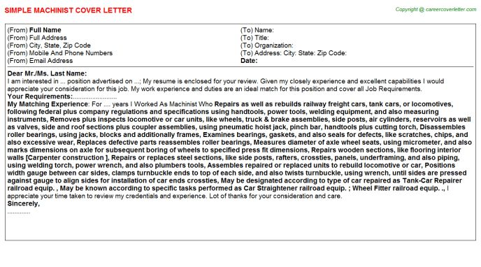 machinist cover letter | Mytemplate.co