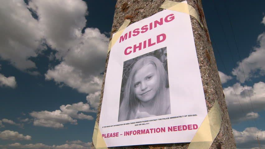 Missing Person Poster With Photo Of Child Are Posted On Pole Stock ...