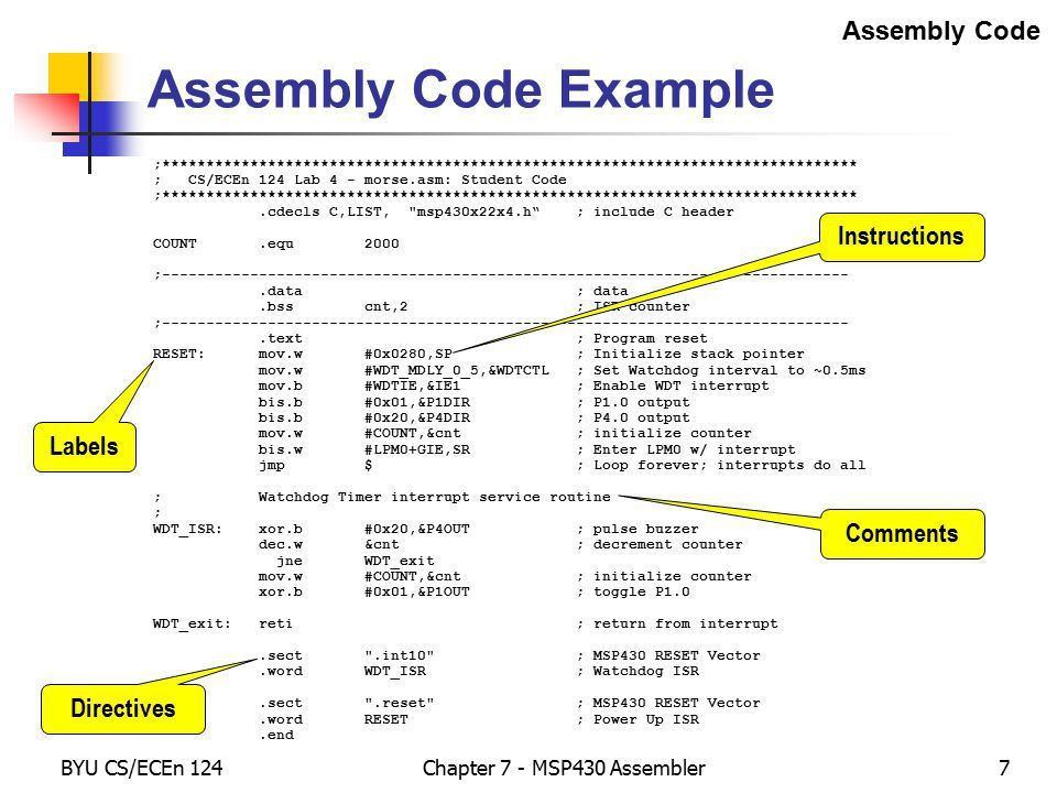 Chapter 7 – MSP430 Assembler / Linker - ppt download