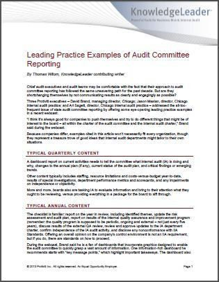 Audit Committee Reporting: Leading Practice Examples and Insights