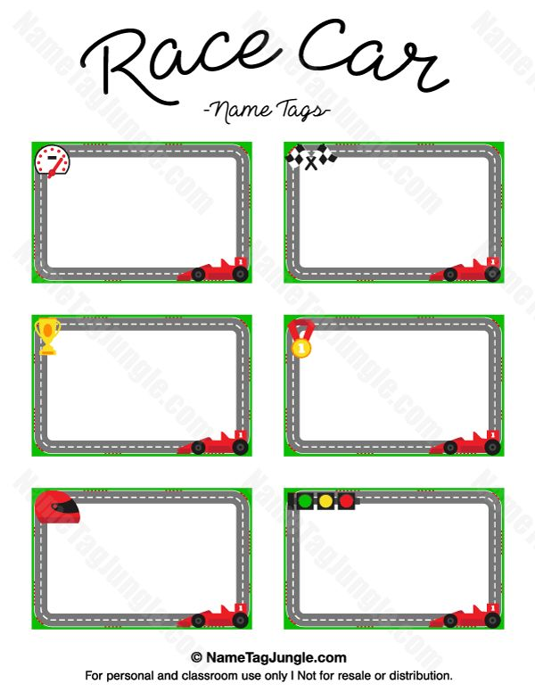 Free printable race car name tags. The template can also be used ...