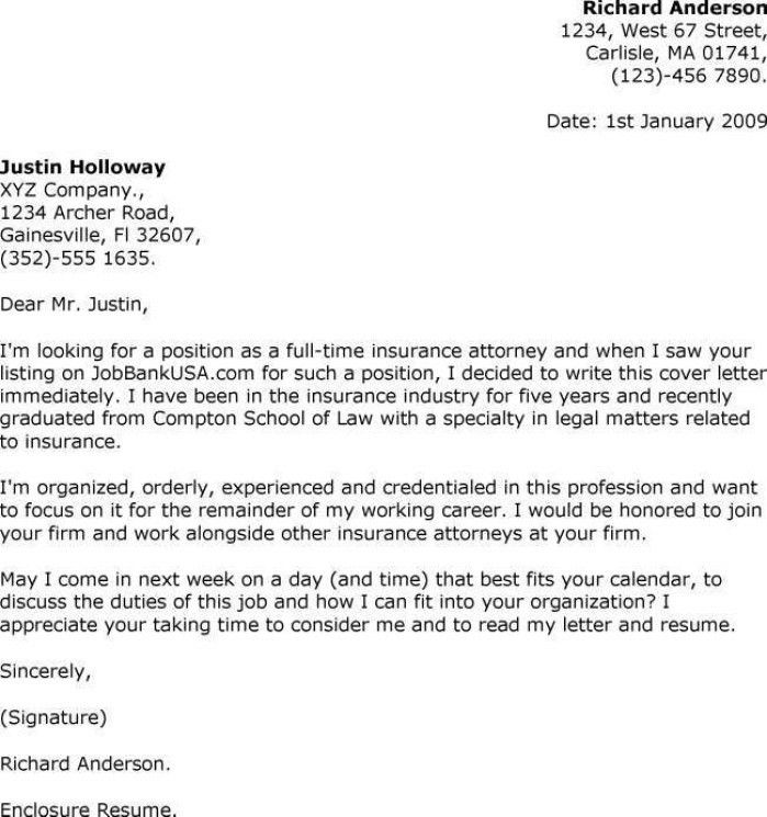sample law cover letters